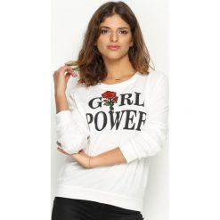 Bluzy damskie: Biała Bluza Girl Power