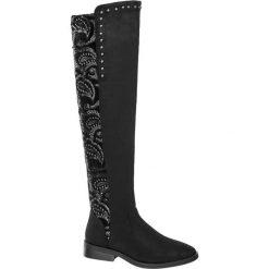 Kozaki za kolano Catwalk czarne. Czarne kowbojki damskie Catwalk, z materiału, za kolano, na obcasie. Za 199,90 zł.