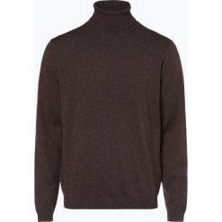 Finshley & Harding - Sweter męski – Pima-Cotton/Kaszmir, brązowy. Czarne swetry klasyczne męskie marki Finshley & Harding, w kratkę. Za 249,95 zł.