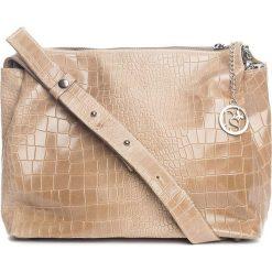 Torebki klasyczne damskie: Skórzana torebka w kolorze szarobrązowym – 30 x 27 x 13 cm