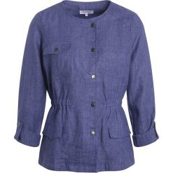 Bomberki damskie: Lniana kurtka w kolorze niebieskim