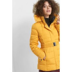 Puchowa kurtka z kapturem. Żółte bomberki damskie Orsay, w paski, z elastanu, z kapturem. Za 349,99 zł.