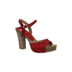 Sandały Nessi  Czerwone sandały skórzane na słupku  18340. Czerwone sandały damskie na słupku Nessi. Za 248,99 zł.