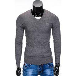 Swetry klasyczne męskie: SWETER MĘSKI E74 – GRAFITOWY/MELANŻOWY