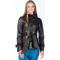 Płaszcze damskie: Skórzany płaszcz w kolorze ciemnobrązowym