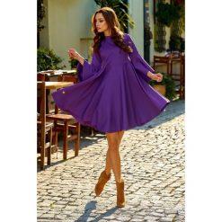 Zjawiskowa sukienka z rozszerzanymi rękawami fiolet HAVEN. Brązowe sukienki na komunię marki Lemoniade, na spotkanie biznesowe, na jesień, z golfem, proste. Za 159,90 zł.