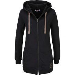 Długa bluza rozpinana bonprix czarny. Czarne bluzy rozpinane damskie bonprix, z długim rękawem, długie, z kapturem. Za 89,99 zł.