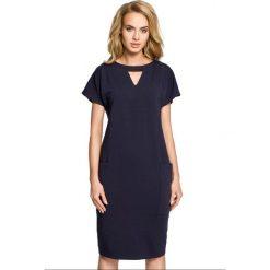 Sukienka ołówkowa ze stójką moe317. Niebieskie sukienki dresowe Moe, na imprezę, s, ze stójką, ołówkowe. Za 119,90 zł.