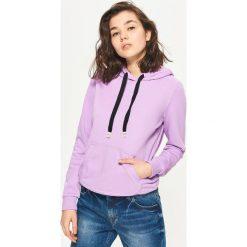 Bluzy rozpinane damskie: Bluza kangurka - Fioletowy