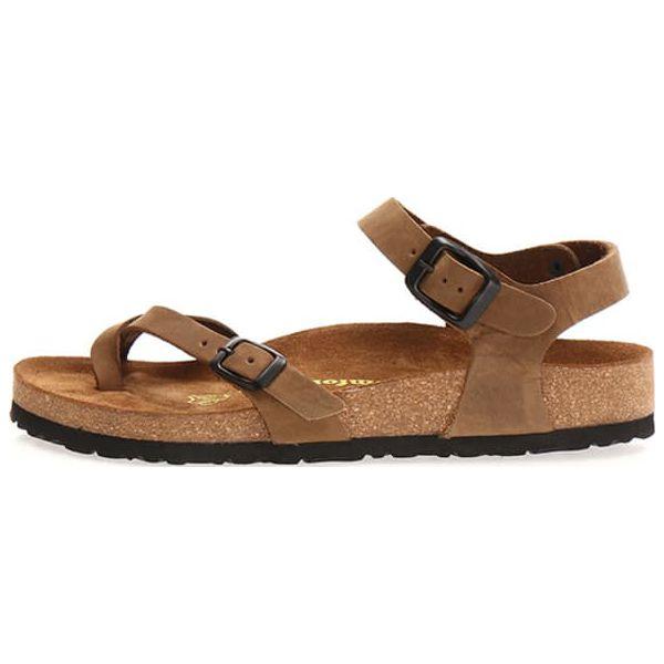 5b28ba5d39ec19 Skórzane sandały w kolorze piaskowym - Pomarańczowe klapki damskie ...