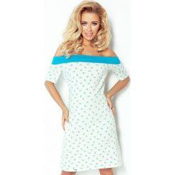 Kelly Sukienka z motywem marynarskim i kokardką - ECRU+niebieski. Niebieskie sukienki numoco, s, z dekoltem na plecach. Za 139,99 zł.