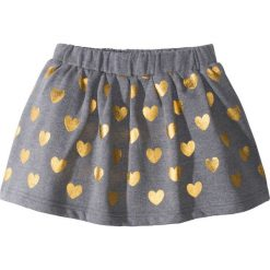 Spódniczka dresowa z foliowym nadrukiem bonprix szary melanż- złoty. Niebieskie spódniczki dziewczęce marki bonprix, z nadrukiem. Za 34,99 zł.