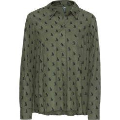 """Bluzka """"boxy"""" bonprix oliwkowo-czarny z nadrukiem. Zielone bluzki z odkrytymi ramionami marki bonprix, z nadrukiem. Za 49,99 zł."""
