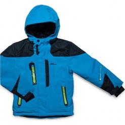Kurtka narciarska w kolorze niebieskim. Niebieskie kurtki chłopięce marki Peak Mountain. W wyprzedaży za 252,95 zł.