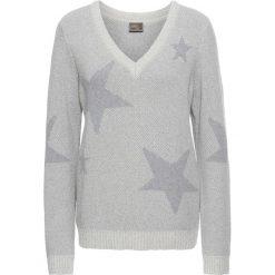 Swetry klasyczne damskie: Sweter bonprix beżowo-szary melanż