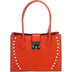 Torebki klasyczne damskie: Skórzana torebka w kolorze pomarańczowym – (S)31 x (W)42 x (G)13 cm