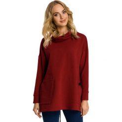 Bordowa Bluza z Nakładanymi Kieszeniami. Czerwone bluzy z kieszeniami damskie Molly.pl, l, z dresówki. Za 112,90 zł.