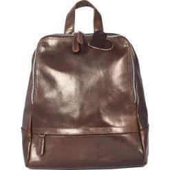 Plecaki damskie: Skórzany plecak w kolorze ciemnobrązowym – 26 x 30 x 8 cm
