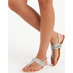 Sandały damskie: DELMAR srebrne sandały japonki szare