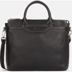 Czarna torba męska. Czarne torby na laptopa Kazar, w paski, ze skóry. Za 749,00 zł.