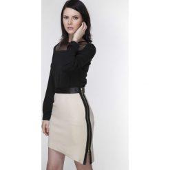 Spódniczki: Asymetryczna Beżowa Spódnica z Dwubiegunowym Suwakiem z Dodatkiem Eko-skóry