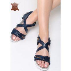 Granatowe Skórzane Sandały Rainforest. Niebieskie sandały damskie Born2be, z materiału, na obcasie. Za 99,99 zł.