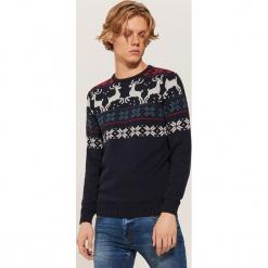 Sweter ze skandynawskim motywem - Granatowy. Niebieskie swetry klasyczne męskie House, l. Za 99,99 zł.