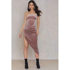 Sukienki: Rebecca Stella Sukienka z odkrytymi plecami i rozcięciem z boku – Pink,Purple