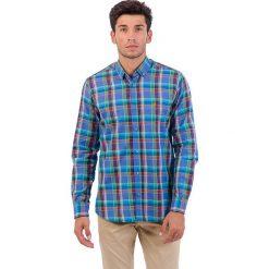 Koszule męskie na spinki: Koszula w kolorze niebieskim ze wzorem