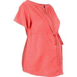 Bluzka ciążowa bonprix koralowo-biel wełny w groszki. Czerwone bluzki ciążowe marki OLAIAN, s, z materiału. Za 89,99 zł.