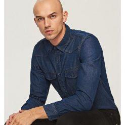 Jeansowa koszula - Granatowy. Białe koszule jeansowe damskie marki FOUGANZA. Za 59,99 zł.