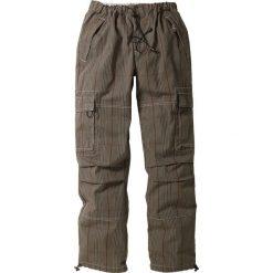Spodnie bojówki Loose Fit Straight bonprix w kratę. Szare bojówki męskie marki bonprix, w paski. Za 79,99 zł.