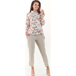 Bluzki damskie: Ecru Koszulowa Bluzka w Drobne Kwiatki