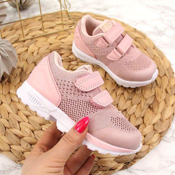 Buty sportowe dziewczęce na rzepy różowe American Club różowy