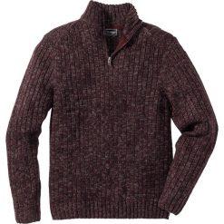 Golfy męskie: Sweter melanżowy ze stójką Regular Fit bonprix bordowy melanż