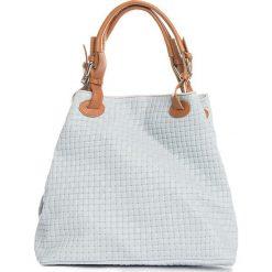 Torebki klasyczne damskie: Skórzana torebka w kolorze błękitno-brązowym – 35 x 17 x 28 cm