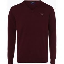 Gant - Sweter męski, czerwony. Czerwone swetry klasyczne męskie marki GANT, m, z haftami, z bawełny, z dekoltem w serek. Za 449,95 zł.