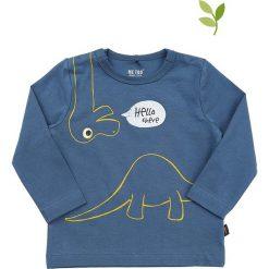 Koszulka w kolorze niebieskim. Niebieskie t-shirty chłopięce z długim rękawem MeToo, z nadrukiem, z bawełny. W wyprzedaży za 42,95 zł.