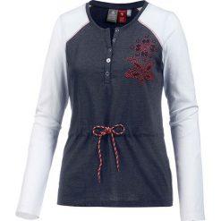 Koszulka w kolorze granatowo-białym. Białe t-shirty damskie OCK, z okrągłym kołnierzem. W wyprzedaży za 78,95 zł.