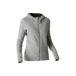 Bluza na zamek z kapturem Gym & Pilates Free Move 540 damska. Szare bluzy rozpinane damskie marki DOMYOS, xs, z bawełny, z kapturem. W wyprzedaży za 74,99 zł.