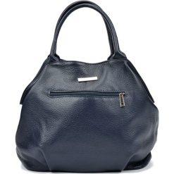 Torebki klasyczne damskie: Skórzana torebka w kolorze granatowym – (S)30 x (W)37 x (G)13 cm