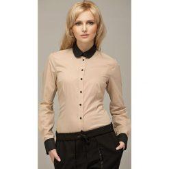 Beżowa Koszula z Kontrastowym Okrągłym Kołnierzykiem. Brązowe koszule wiązane damskie Molly.pl, m, z kontrastowym kołnierzykiem, z długim rękawem. W wyprzedaży za 61,53 zł.
