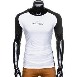 T-SHIRT MĘSKI Z NADRUKIEM S926 - BIAŁY/CZARNY. Białe t-shirty męskie z nadrukiem Ombre Clothing, m. Za 29,00 zł.
