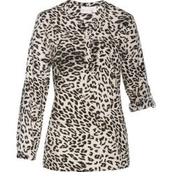 Bluzki damskie: Bluzka tunikowa bonprix biel wełny - czarny z nadrukiem