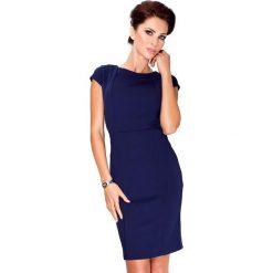 Alice Elegancka sukienka z krótkim rękawkiem - Granatowa. Niebieskie sukienki balowe numoco, s, z materiału, z krótkim rękawem, mini. Za 109,00 zł.