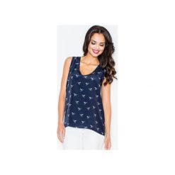 Bluzka M253 Granat. Niebieskie bluzki damskie marki bonprix, z nadrukiem, na ramiączkach. Za 99,00 zł.