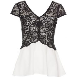 Bluzka bonprix biało-czarny. Białe bluzki wizytowe marki bonprix, z koronki, eleganckie, z kontrastowym kołnierzykiem. Za 54,99 zł.