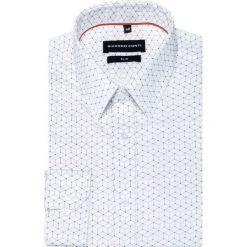 Koszula SIMONE KDBS000265. Szare koszule męskie na spinki Giacomo Conti, m, w geometryczne wzory, z bawełny, z klasycznym kołnierzykiem, z długim rękawem. Za 199,00 zł.