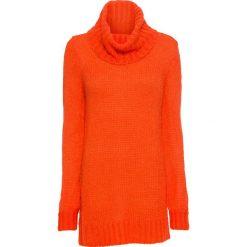 Długi sweter z dużym kołnierzem bonprix czerwona pomarańcza. Brązowe swetry klasyczne damskie bonprix. Za 89,99 zł.