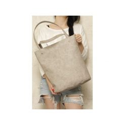 Shopper bag XL beżowa torba na zamek Vegan. Brązowe shopper bag damskie Hairoo, w paski. Za 155,00 zł.